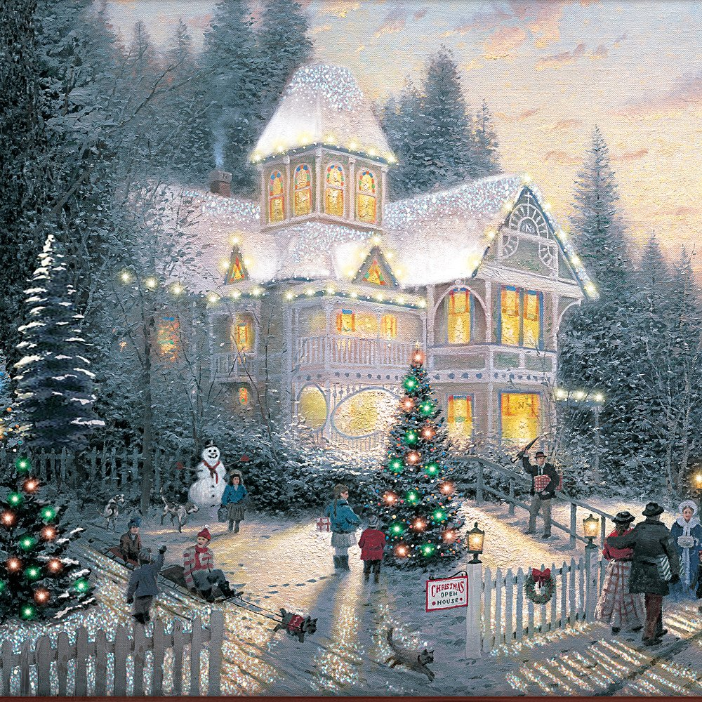 amazoncom wall decor thomas kinkade victorian christmas wall decor by the bradford exchange home kitchen