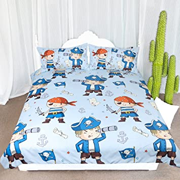 Arightex Blue Pirate Bedding Children Bed Spreads Pirate Boy Duvet Cover  Teens Bed Set for Nautical Themed Bedroom (Twin)