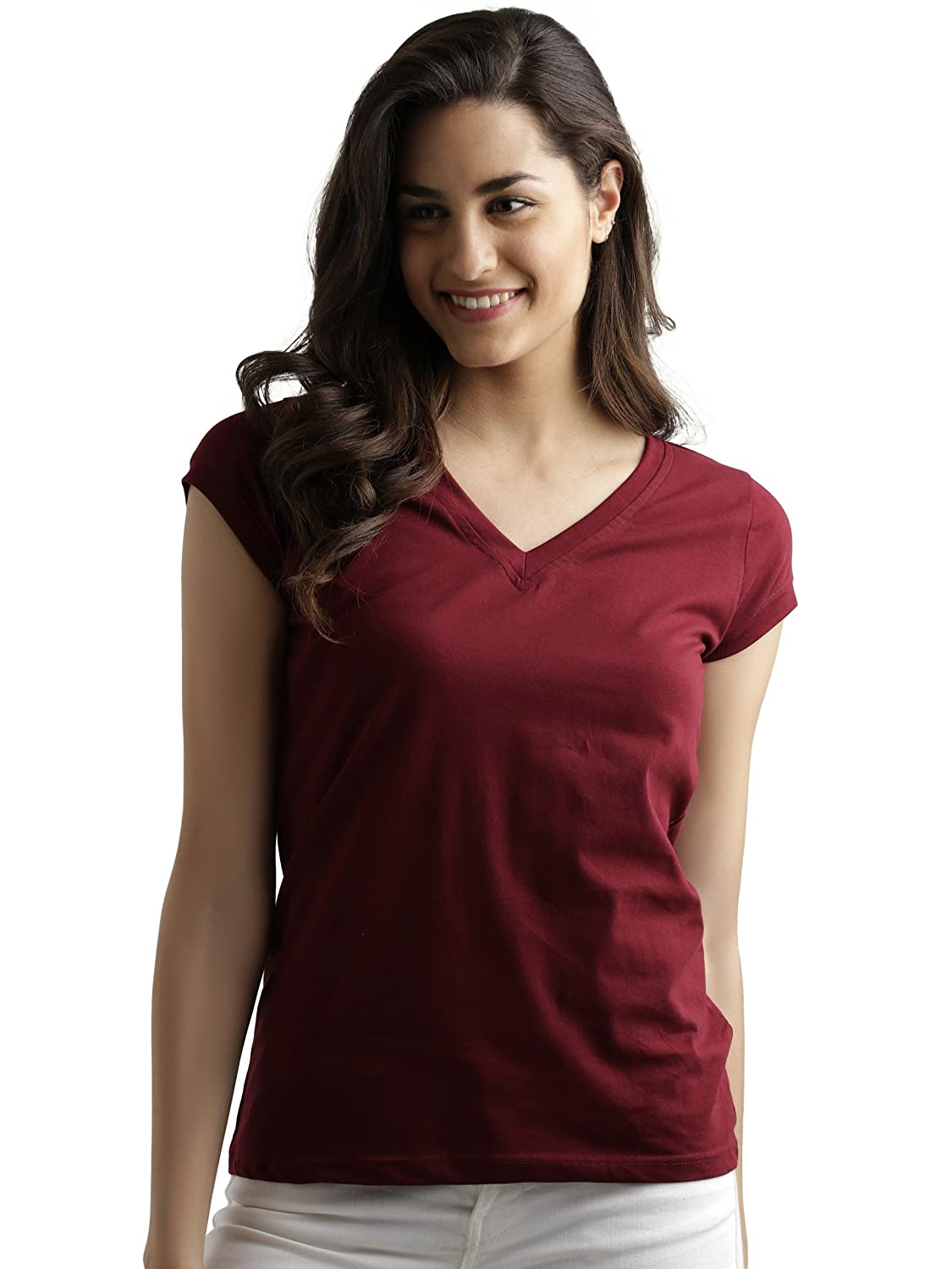 Miss Chase Women's Maroon Cotton Basic T-Shirt