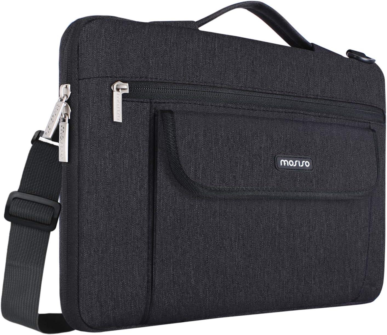 MOSISO 360 Protective Shoulder Bag Compatible 13-13.3 inch Laptop, Black