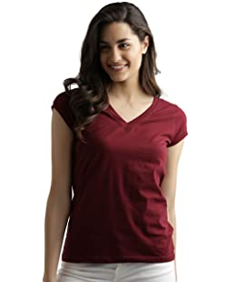 Miss Chase Women's Plain Regular fit T-Shirt (MCS14TS01-05-143_Maroon_Large)