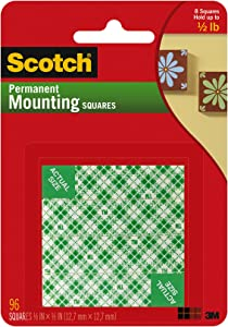 Scotch Brand, White, Scotch Indoor Mounting x 1/2-inch, 96-Squares (111-SML), 1-Pack