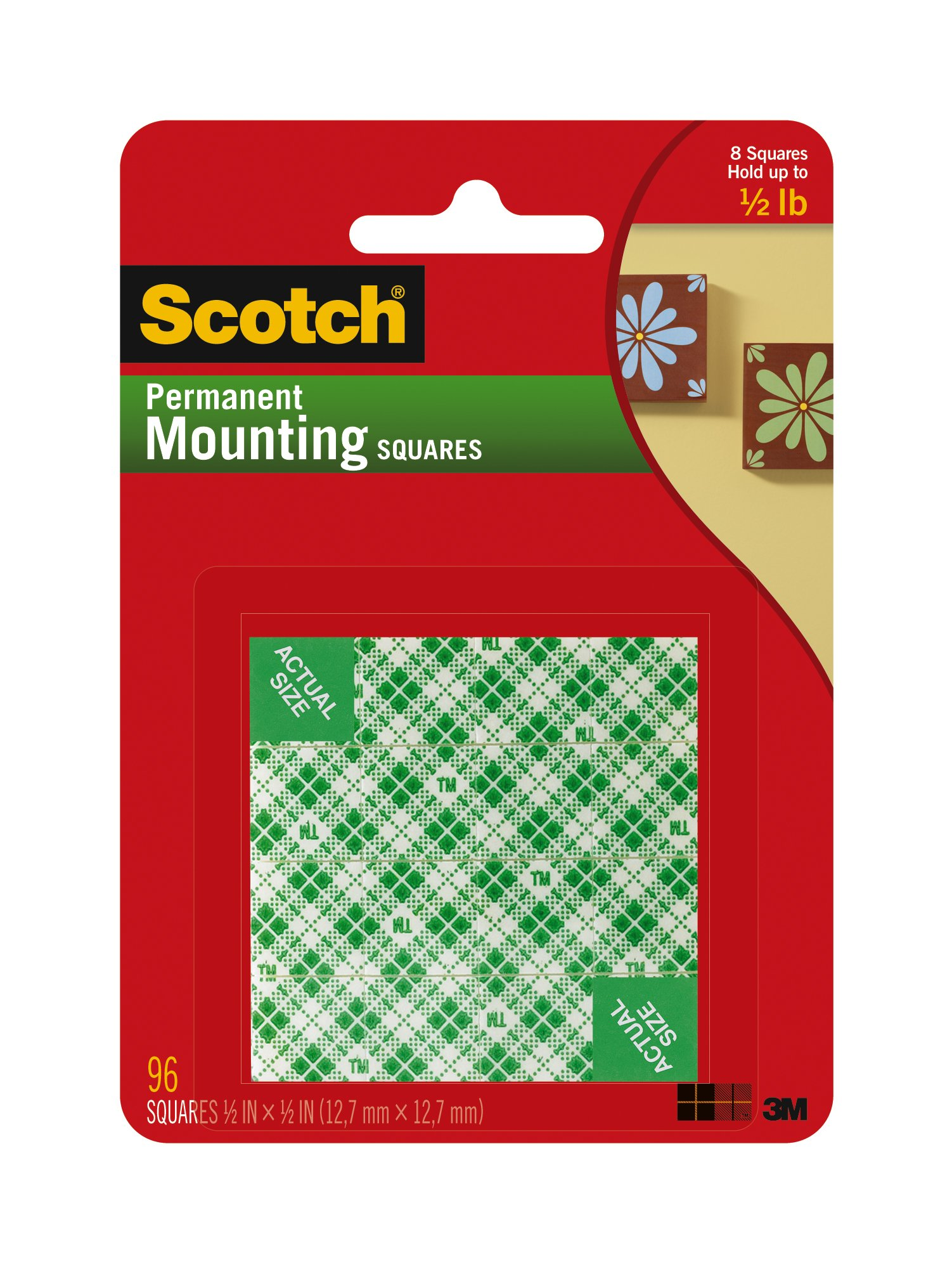 Scotch Indoor Mounting Squares, 1/2-inch x 1/2-inch, White, 96-Squares (111-SML)