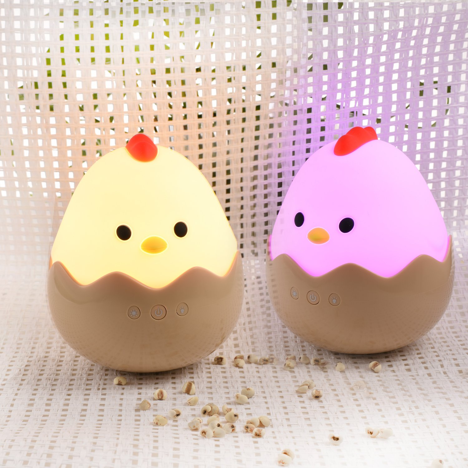 Touch Control YHMAE Cute Creative Chick Night Light Rechargeable Chick Shape Top Control Lamp for Girl Lady Kid Baby Bedroom and Nursery
