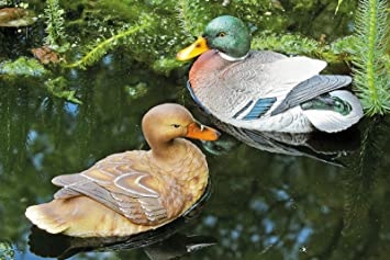Ente Erpel Schwimmtier Teich Teichfigur Gartenfigur 2er Set