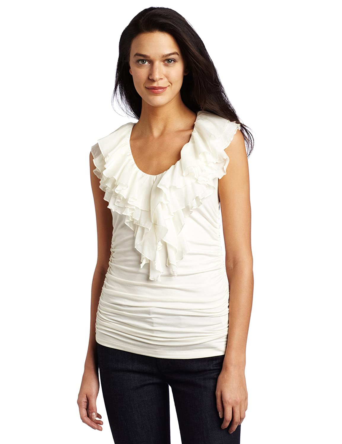 Karen Kane Womens Rouched Sleeveless Ruffle top