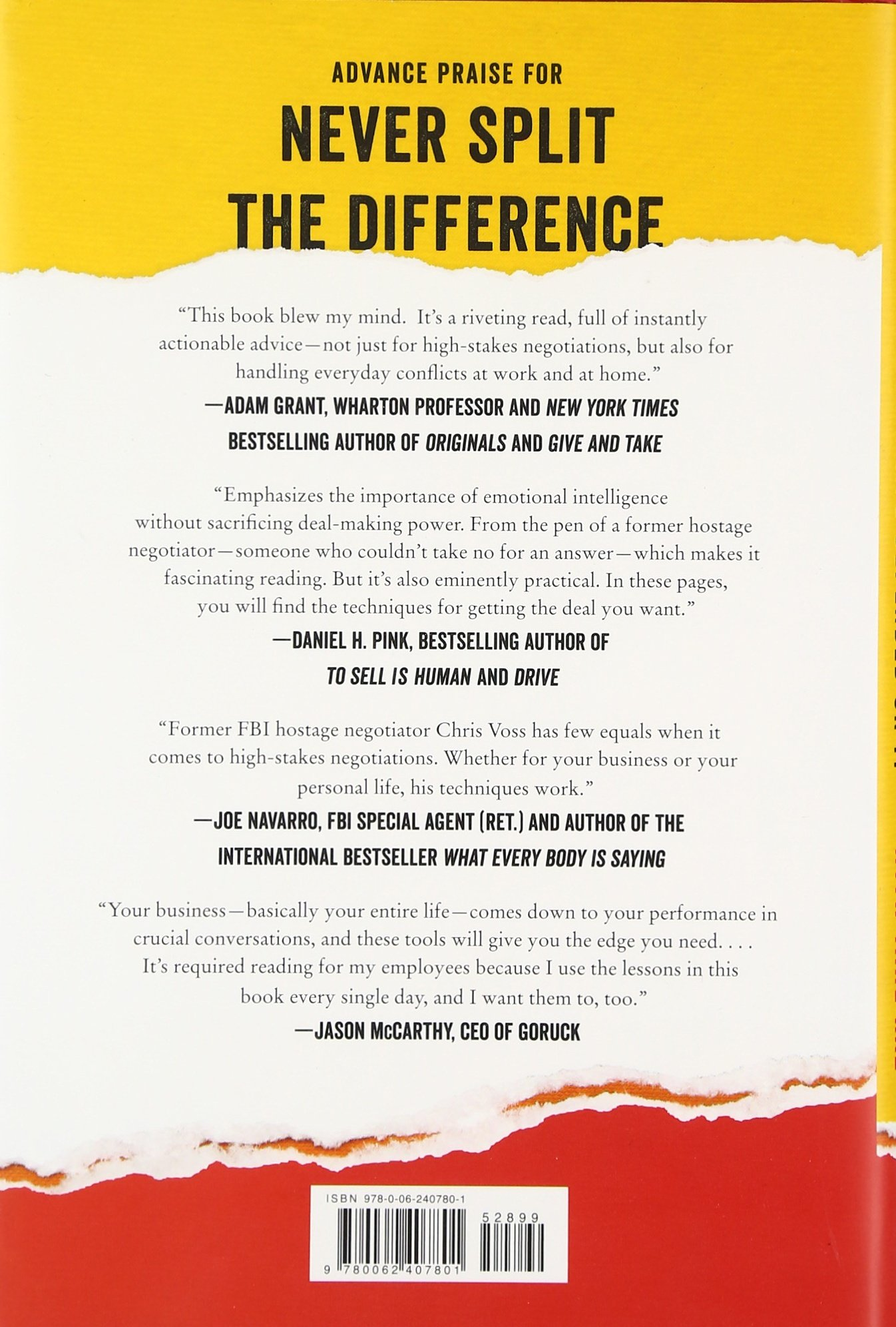 Never Split the Difference: Negotiating As If Your Life Depended On It by Harperbusiness