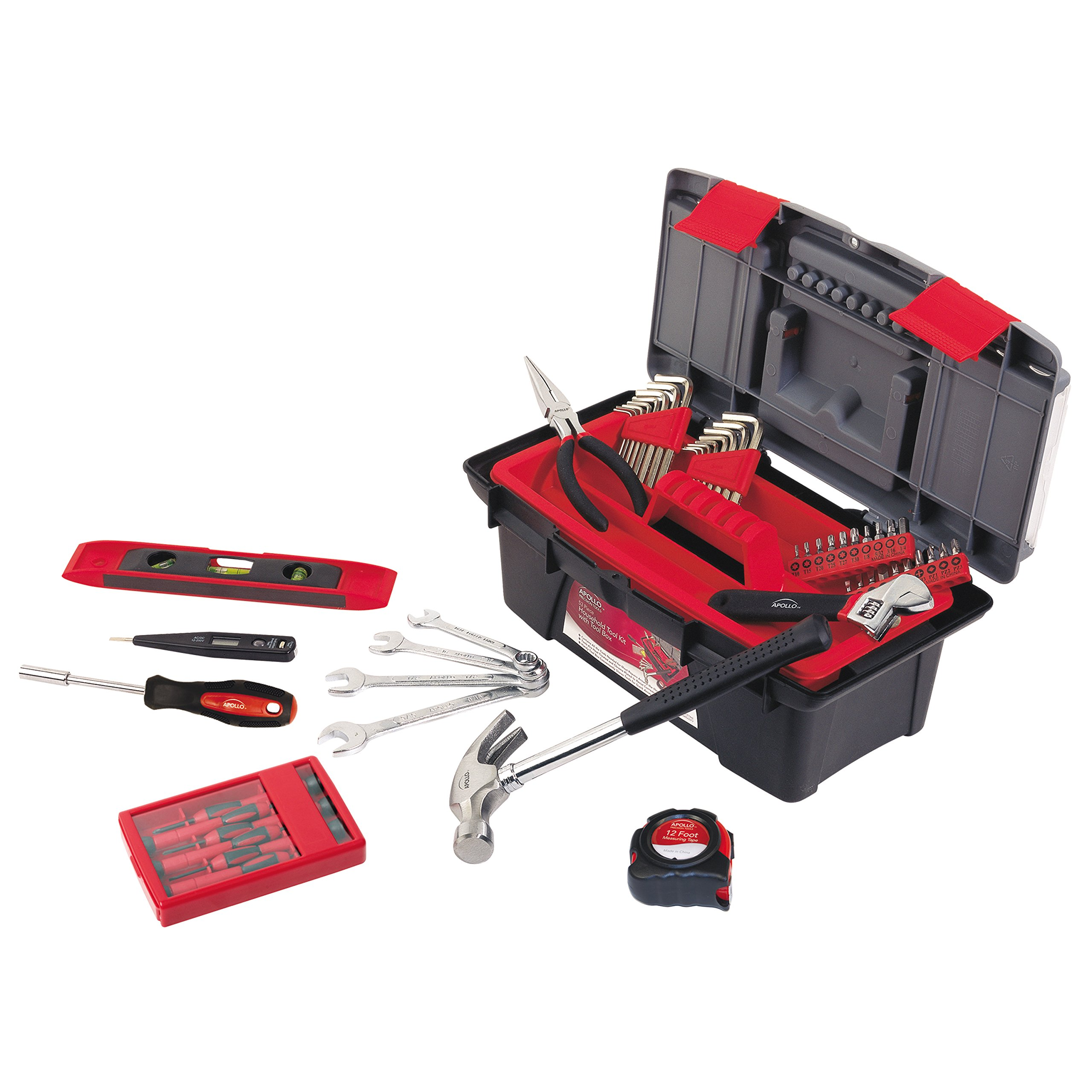 Apollo Tools DT9773 53 Piece Household Tool Set with Wrenches, Precision Screwdriver Set and Most Reached for Hand Tools in Handy Tool Box