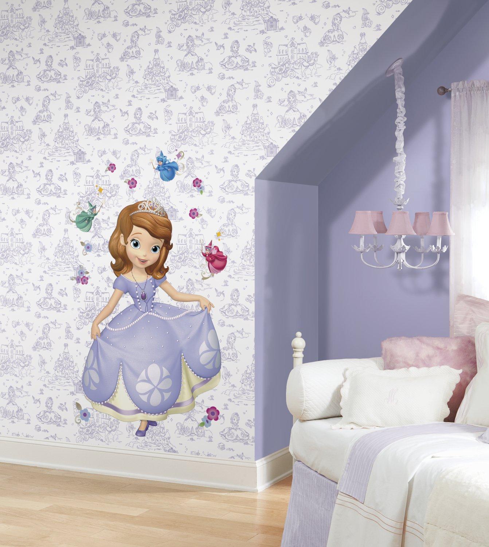 Purple//White York Wallcoverings Walt Disney Kids II Sofia Toile Wallpaper Memo Sample 8-Inch x 10-Inch