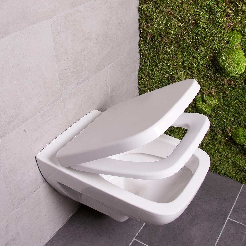 Bullseat 6.1 WC Sitz weiß eckig mit Absenkautomatik abnehmbar aus Duroplast