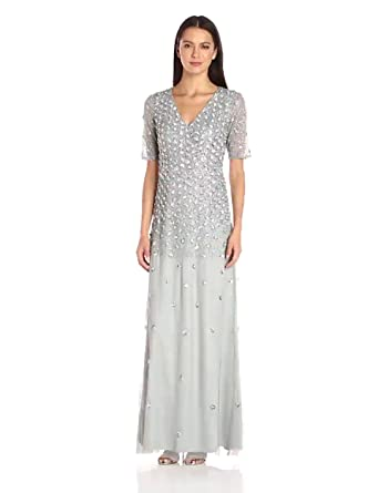 146f3bc6a1b Amazon.com  Adrianna Papell Women s 3 4 Sleeve Wrap Front Gown with ...
