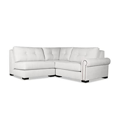 South Cone Home Chelsea Buttoned Modular Sectional Right Arm L-Shape Mini, White