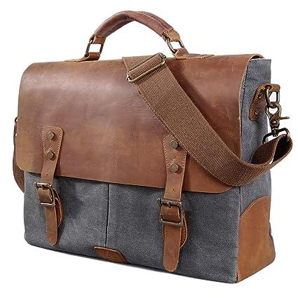 737c131319 Lifewit Men Briefcase Leather Canvas Laptop Satchel Messenger Work Bag Fit  up to 15.6-inch
