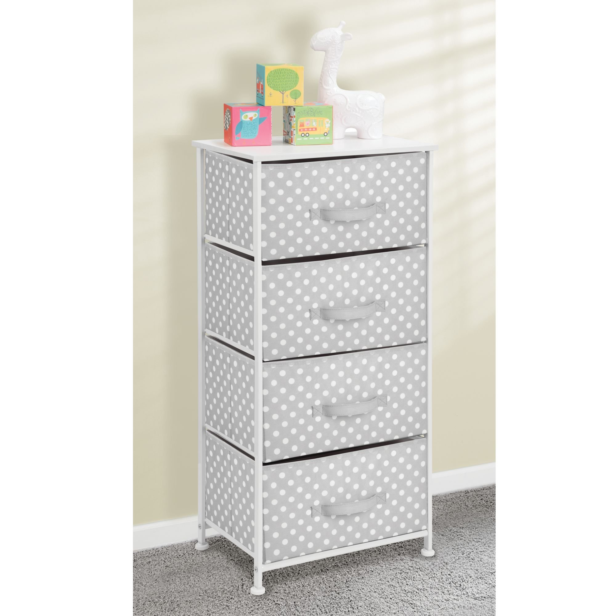 mDesign 4-Drawer Vertical Dresser Storage Tower - Sturdy Steel Frame, Wood Top and Easy Pull Fabric Bins - Multi-Bin Organizer Unit for Child/Kids Bedroom or Nursery - Light Gray with White Polka Dots by mDesign (Image #1)