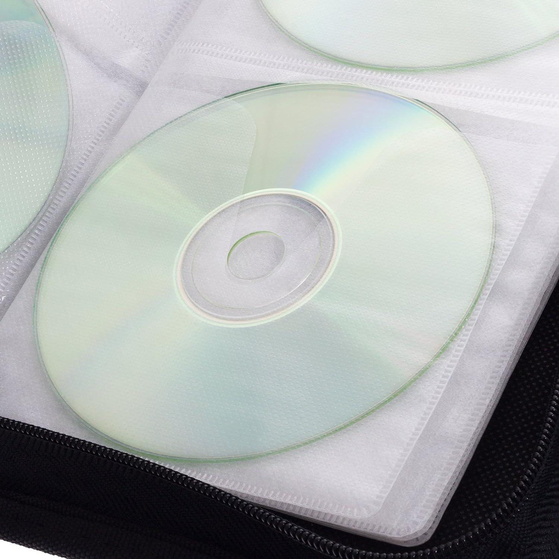 Smartfox CD Tasche f/ür 40 CDs DVDs Blu-rays Discs Mappe mit Rei/ßverschlu/ß zur Aufbewahrung in schwarz