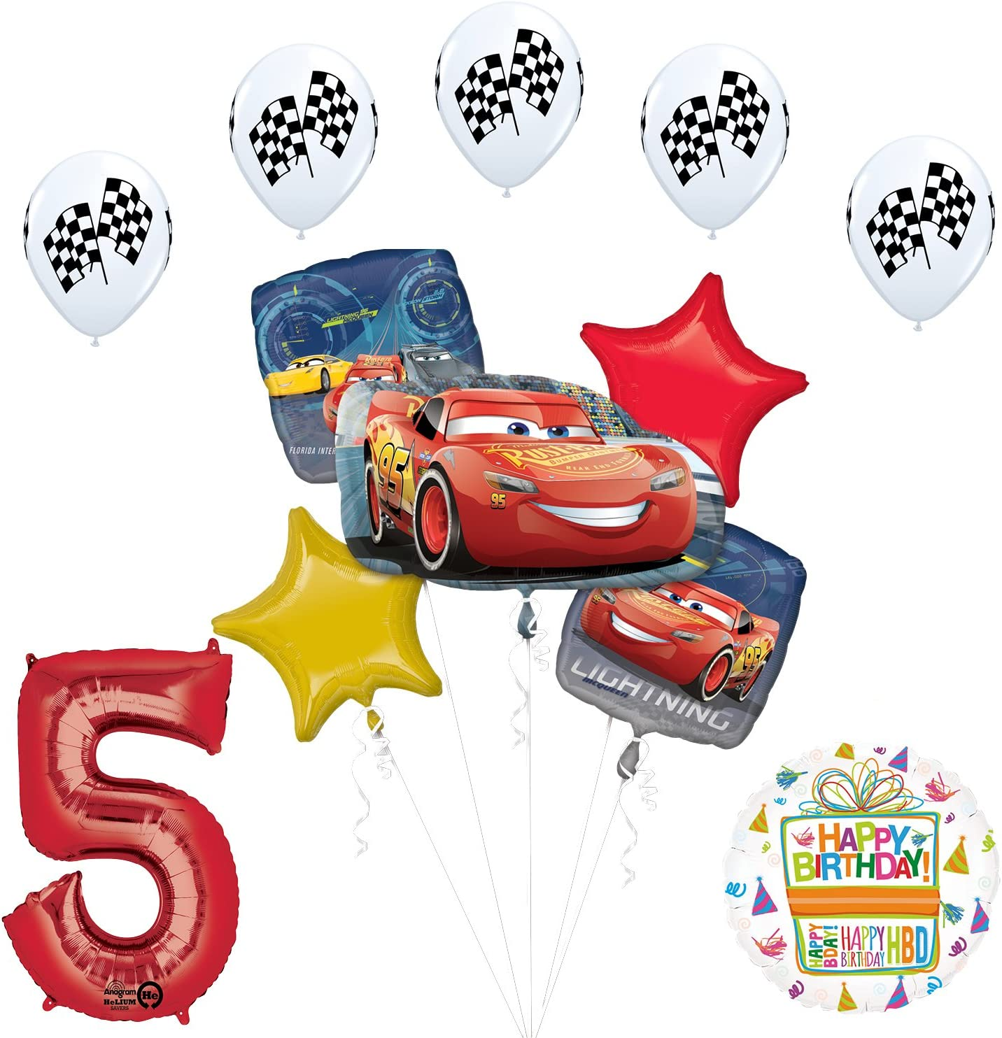 Disney Cars 4th Birthday Party Supplies 8 Guest Kit and Balloon Bouquet Decor...