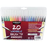 Sargent Art 22-1520 Washable Brush Tip Markers, 20 Count