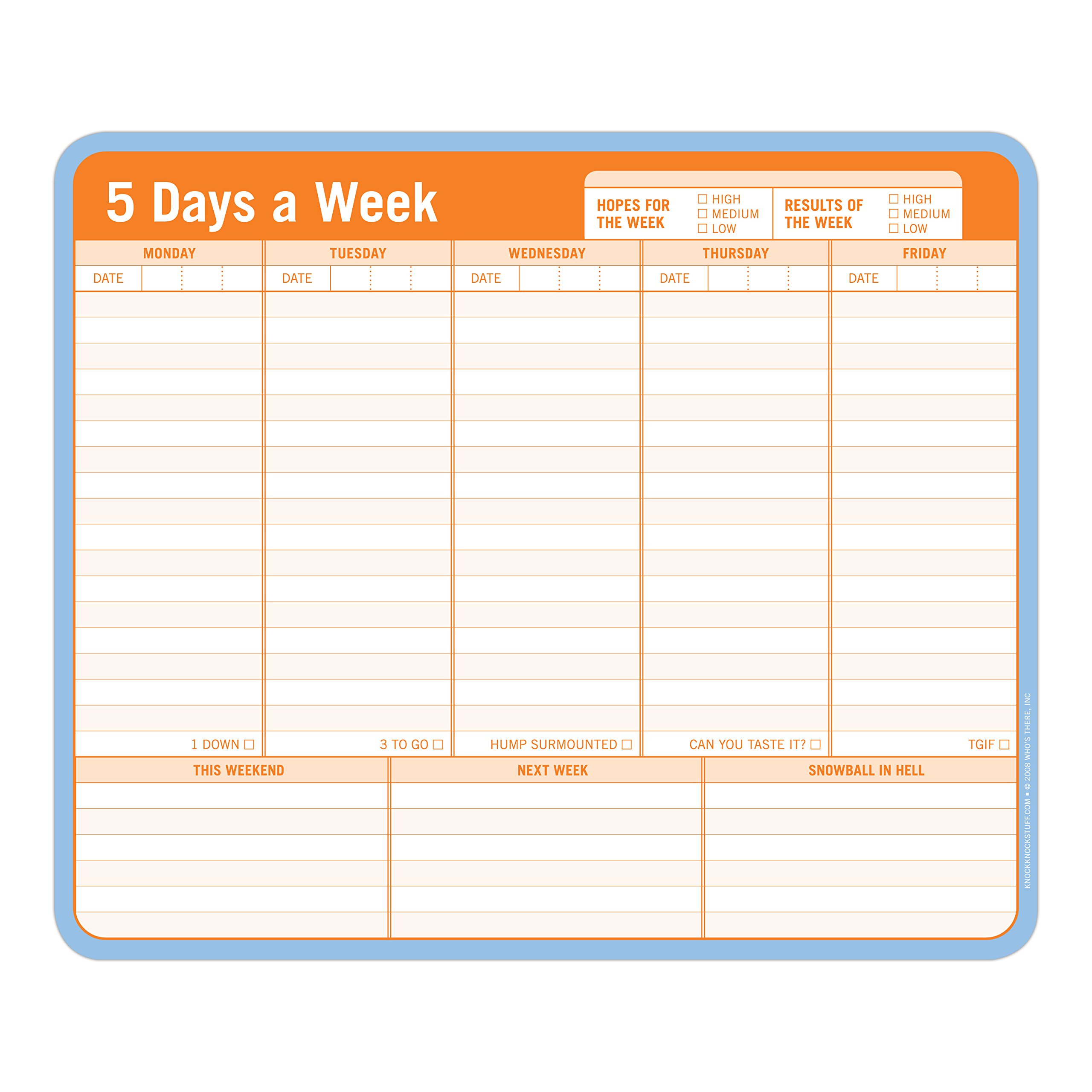 Knock Knock 5 Days a Week Paper Mousepad by Knock Knock