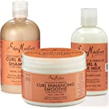 Shea Moisture Coconut and Hibiscus Combination Pack- 12 oz. Curl Enhancing Smoothie, 8 oz Curl Style Milk & 13 oz Shampoo