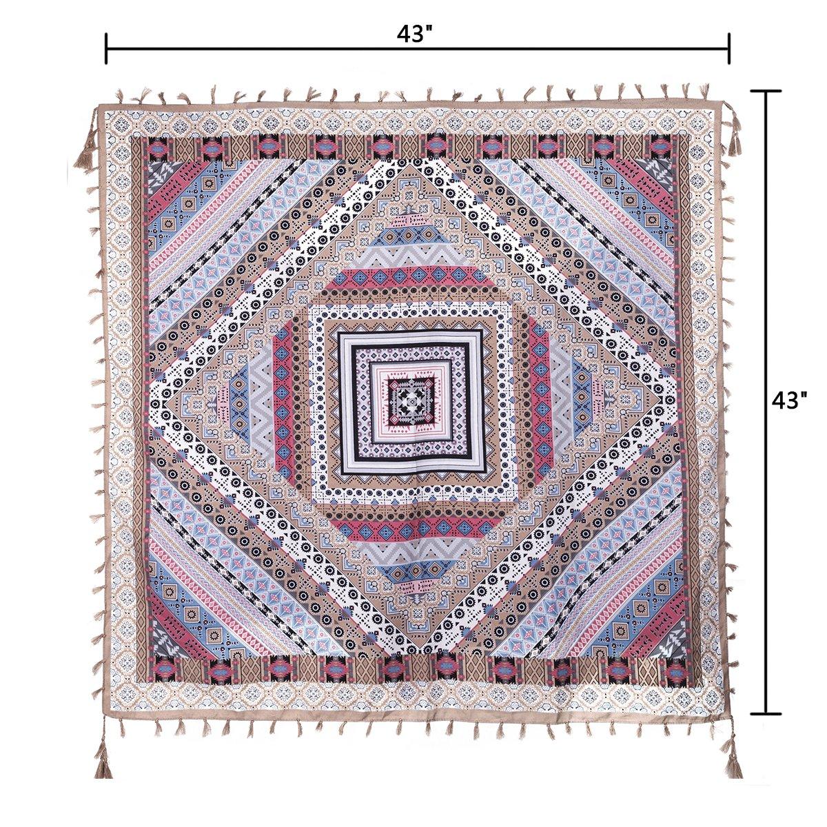 EVRFELAN Women Boho Scarf Tassel Shawl Tapestry Tablecloth Beach Towel Picnic Throw Wall Hanging Yoga Mat Ladies Cotton Scarves by Popular Handicrafts (Khaki)