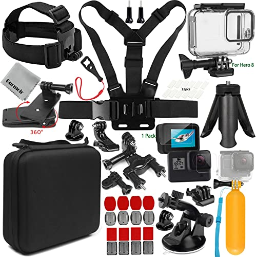 Gurmoir 15in1 Action Camera Kit with Waterproof Case for Gopro Hero 8 Black Action Camera Only. Full Essential Outdoor Travel Climbing Hiking Action Camera Accessories for Gopro Hero 8 AT08
