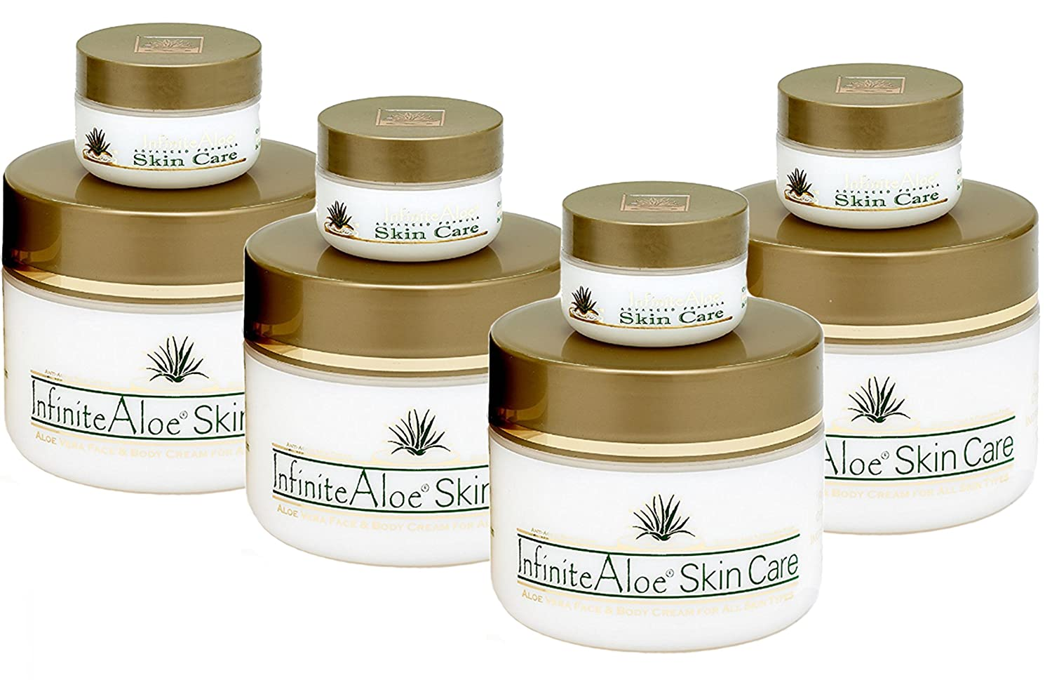 Infinite Aloe Skin Care Cream, Original Scent, 8oz. - 4 Jars (Plus 4 Bonus 0.5 oz InfiniteAloe Travel Jars)