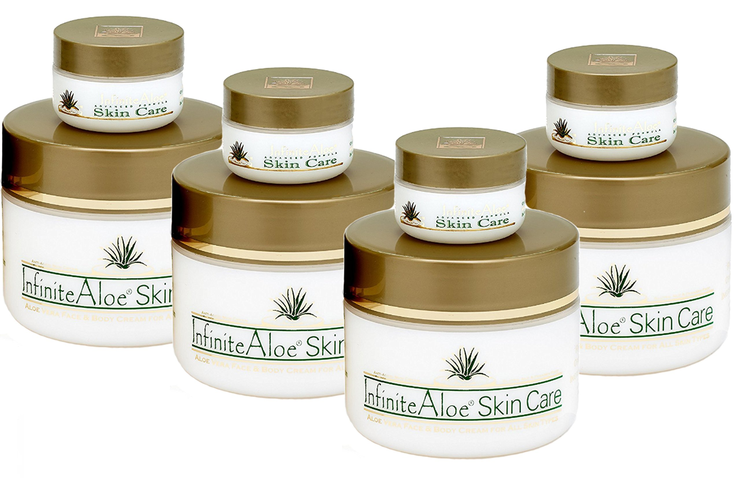 Infinite Aloe Skin Care Cream, Original Scent, 8oz. - 4 Jars - ** (Plus 4 Bonus 0.5 oz InfiniteAloe Travel Jars) **