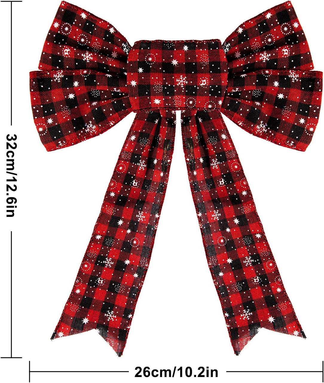 Whaline Large Buffalo Plaid Bows Christmas Wreath Bows 12 x 10in Bows Tree Bows Decoration Burlap Bows for Xmas Party New Year 4pcs Red