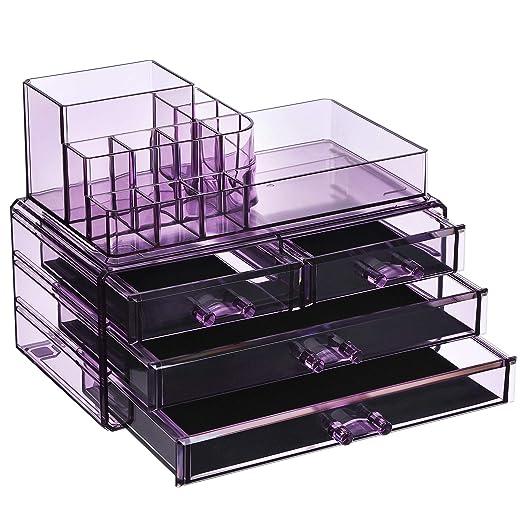 SONGMICS Organizador Cosmético, Estuche de Maquillaje con 4 Cajones y 11 Compartimentos de Diferentes Tamaños, Esteras Antideslizantes, Maquillaje y ...