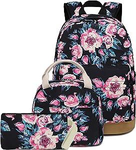 BLUBOON School Backpack Set Teen Girls Bookbags 15 inches Laptop Backpack Kids Lunch Tote Bag Clutch Purse (E0072 Black)