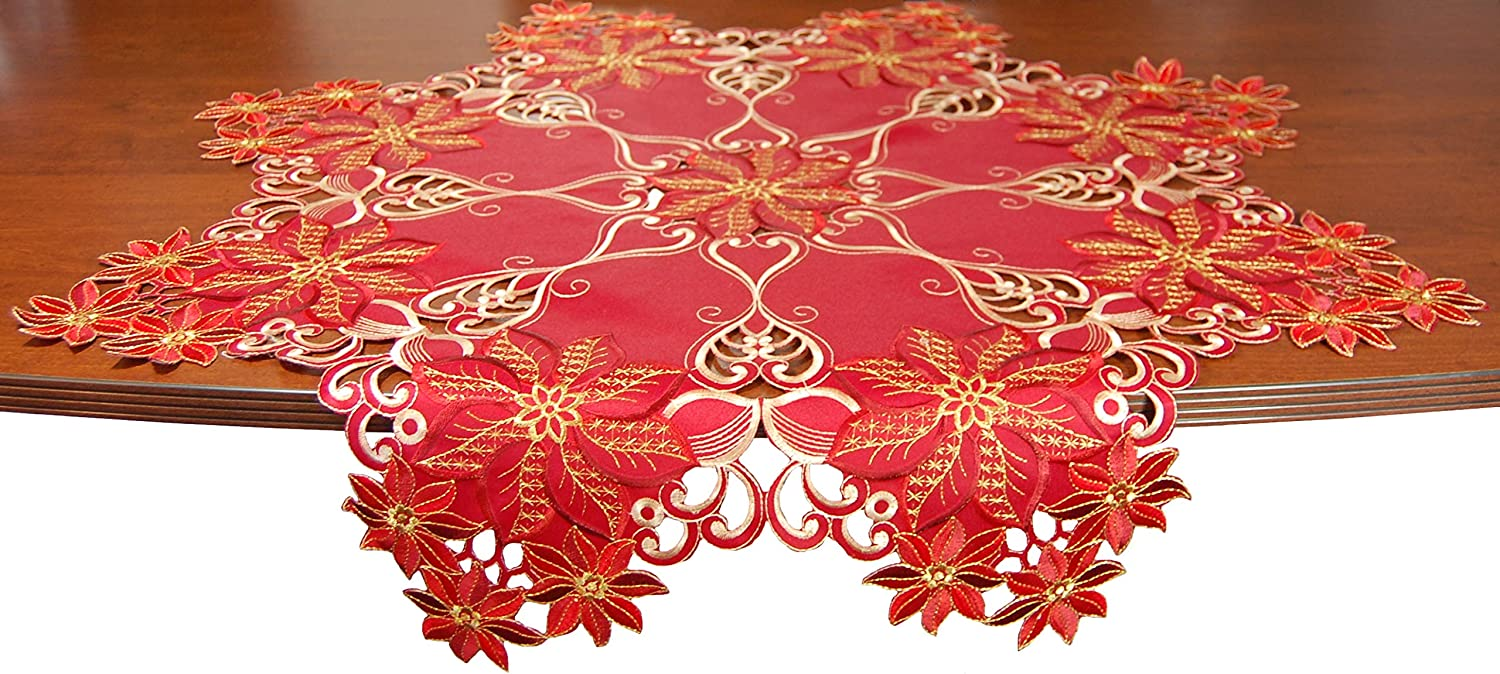 """EcoSol Designs Embroidered Table Topper Centerpiece (36"""" Diameter, Red Gold) Snow Flower"""