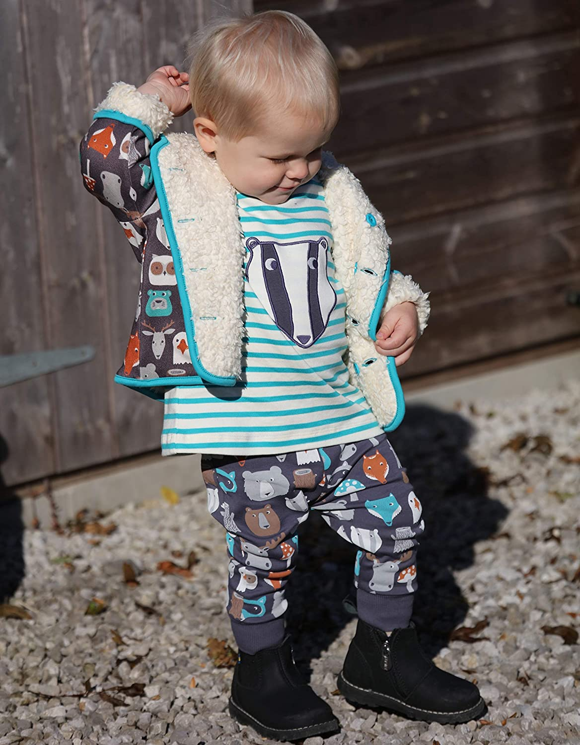 Piccalilly Organic Cotton Unisex Girls Boys Brown Forest Friends Print Baby Toddler Leggings