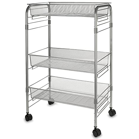 amazon com 3 shelf mesh wire rolling cart 4x caster wheels rh amazon com wire rolling shelf cart industrial rolling wire shelves