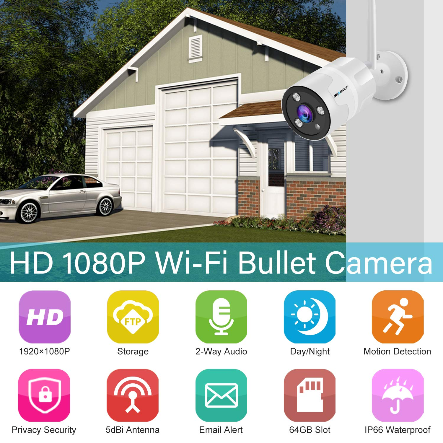 1080P Outdoor Security Camera - GENBOLT Wireless WiFi Home Surveillance IP  Camera,Customizable Motion Detection,110° Super Wide View,Loop Recording