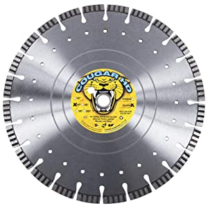 """Cougar Heavy-Duty 14-inch (14"""") Dry/Wet Concrete Diamond Blade, Supreme Quality with Laser-Welded 12MM Tall Segments"""