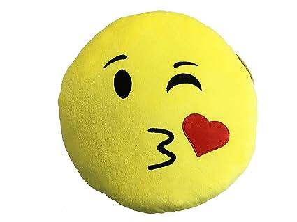 Icons - Cojin amarillo redondo Emoticono Peluche beso ...