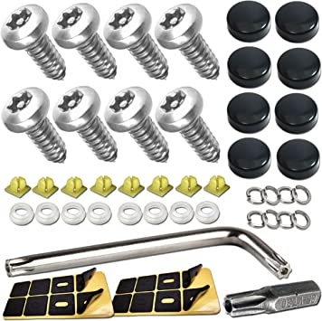 License Plate Fastener-Chrome Caps TANGGIFT Stainless Steel License Plate Screws for Fastening License Plates Frames and Covers on American Cars and Trucks