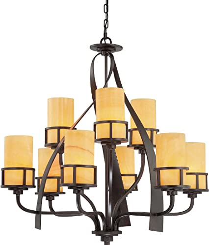 Quoizel Lighting KY5009IB Kyle 2 Tier Chandelier 9 Light Steel, Imperial Bronze Finish with Butterscotch Onyx Glass with Product Sold in Quantity – 9