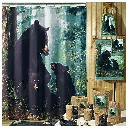 DS BATH Black Bear Shower CurtainMildew Resistant Polyester Microfiber Waterproof CurtainsAnimal