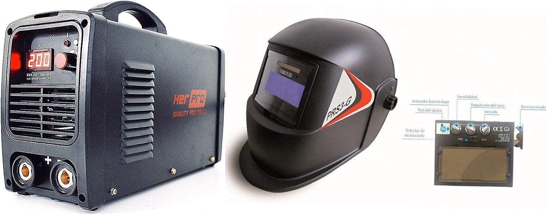 HERPRO Soldador Inverter Profesional IGBT de 200 Amperios y soldadura por arco MMA, y Careta de Soldar Automática, muy Ligera, Eficiente y con una Amplia Visibilidad