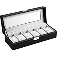 Soufull 6-Slot PU Leather Watch Box / Display Case (Black)