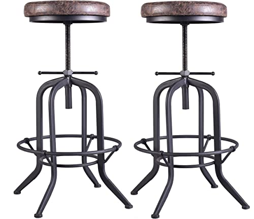 Set of 2 Industrial Bar Stool,Kitchen Stool-Adjustable Swivel Vintage Pu Leather Bar Stool-Rustic Bar Stool with Cushion Seat-Metal Iron Pipe Stool-Extra Tall Pub Height 29-35 Inch,Fully Welded