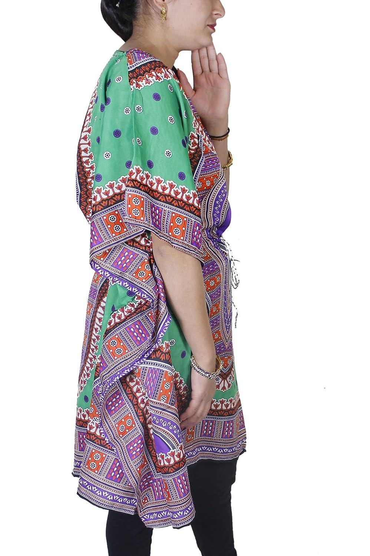 Vestido caftan de largo medio y con vivo diseño vestido de mujer manga corta: Amazon.es: Ropa y accesorios