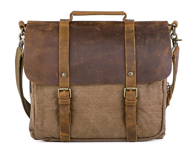 """0ca77b426 Gootium Vintage Canvas Leather Briefcase Messenger Laptop Shoulder Bag  15.6"""", Men's, ..."""