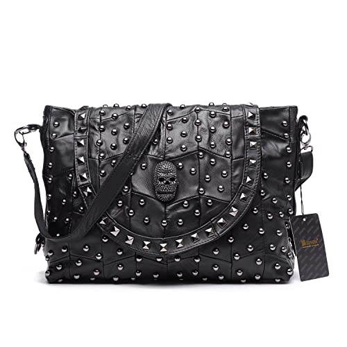 9a29c1ead Jonon Women's Genuine Leather Sheepskin Studded Skull Shoulder Bag Handbag  Crossbody Bag: Amazon.co.uk: Shoes & Bags
