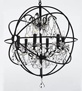Antique bronze vintage sphere cage crystal globe chandelier ceiling foucaults orb wrought iron crystal chandelier lighting country french 6 lights ht25 x aloadofball Gallery