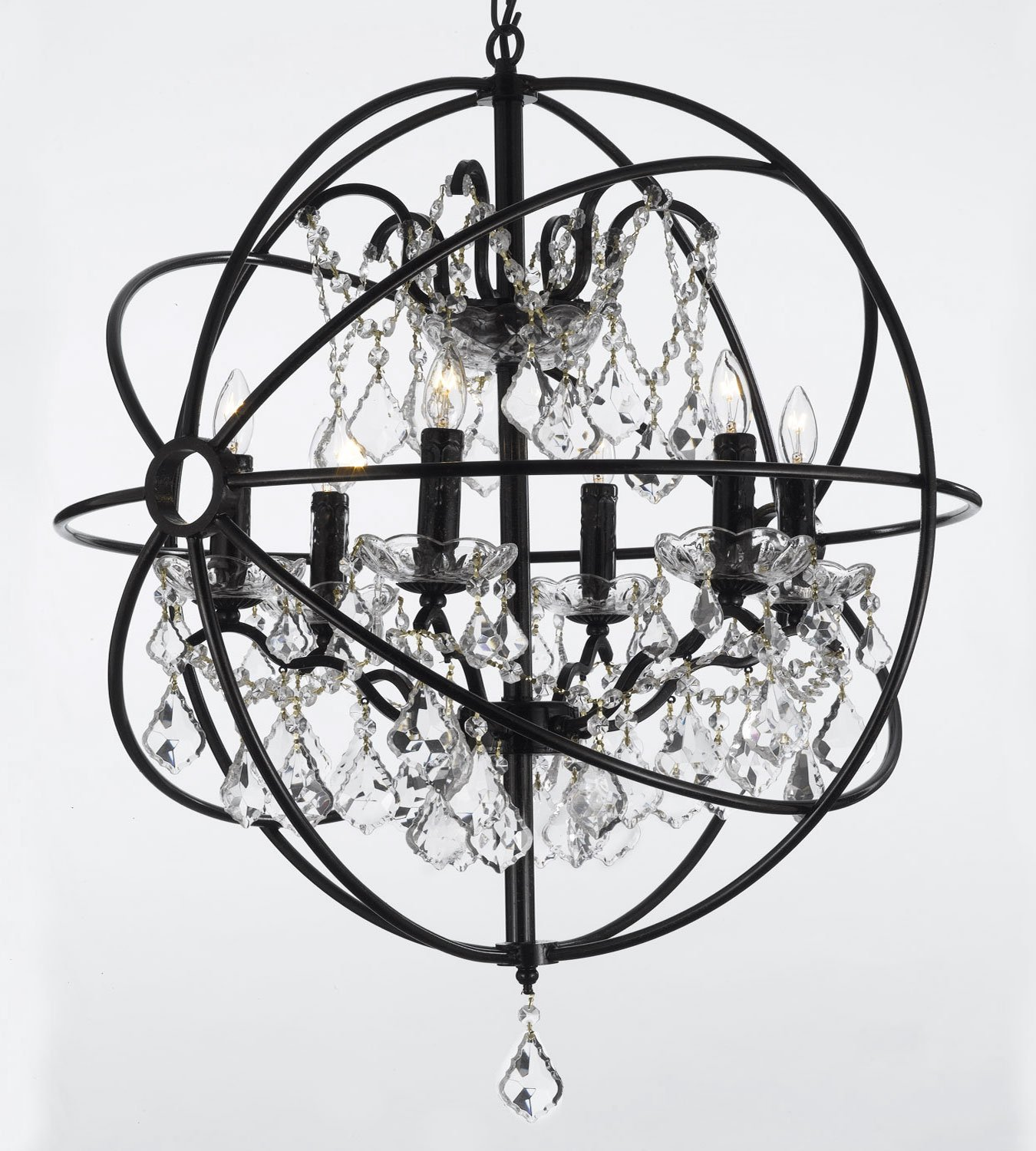 Foucault S Orb Wrought Iron Crystal Chandelier Lighting Country French 6 Lights Ht25 X Wd24 Ceiling Fixture Sphere Com