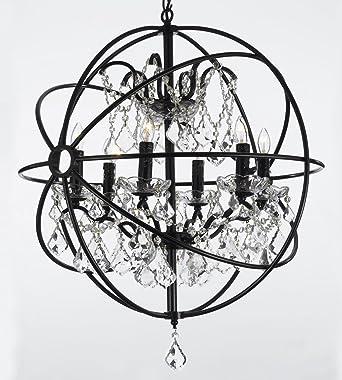 Foucault's Orb Wrought Iron Crystal Chandelier Lighting Country ...:Foucault's Orb Wrought Iron Crystal Chandelier Lighting Country French , 6  Lights , , ht25 X,Lighting