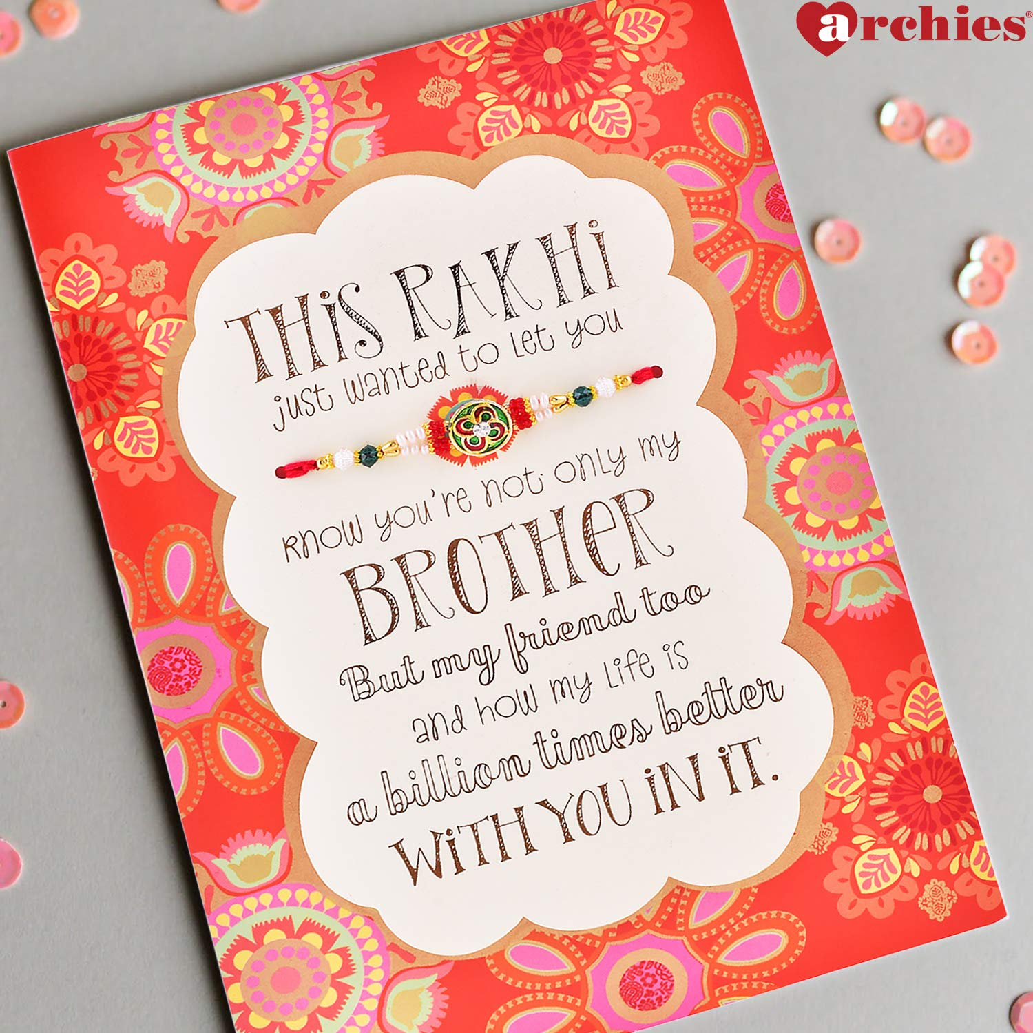 Archies Special Rakhi Card Combo For Brother Including Rakhi Roli
