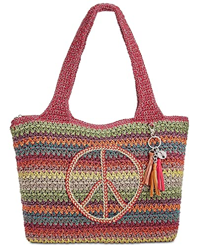 The Sak Crochet Womens Large Tote Bag Peace Sign In Red Handbags